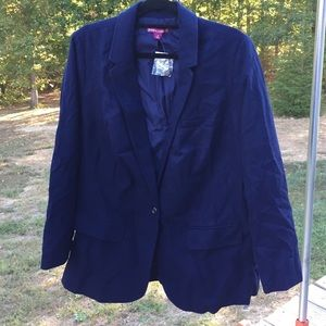 Jessica London classic WOOL navy BLAZER 83y3!